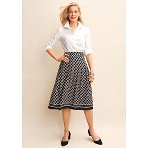 Talbots Petite Black & White Geo Print Full Skirt